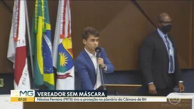 Vereador Nikolas Ferreira (PRTB) tira a proteção no plenário da Câmara de BH - Durante o pronunciamento, o vereador, que está em seu primeiro mandato, criticou o fechamento do comércio da capital.