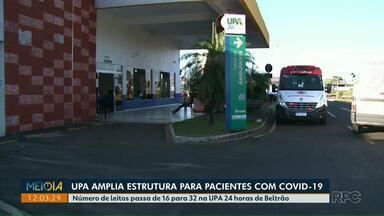 UPA de Francisco Beltrão amplia estrutura para pacientes com Covid-19 - Número de leitos passa de 16 para 32 na UPA 24 horas de Beltrão.