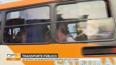 Secretário de Mobilidade recomenda que usuários evitem transporte público - Dia a dia nos ônibus é de aglomeração.