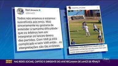 Nas redes sociais, dirigente e capitão do Avaí reclamam da arbitragem - Nas redes sociais, dirigente e capitão do Avaí reclamam da arbitragem