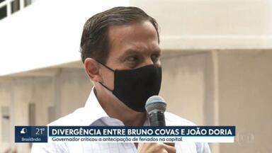 Medidas contra a pandemia provocam divergência entre Bruno Covas e João Doria - Em Santos, calçadão da praia está bloqueado. Prefeitos da região do Grande ABC pedem lockdown.