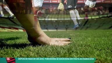 Deficiente visual, torcedora do Flamengo se emociona em volta ao Maracanã - Deficiente visual, torcedora do Flamengo se emociona em volta ao Maracanã