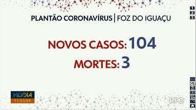 Foz do Iguaçu registra 104 novos casos de Covid-19 nas últimas 24 horas - Mais três óbitos foram registrados.