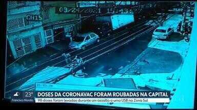 98 doses da Coronavac foram roubadas em uma UBS da capital - As doses foram roubadas durante um assalto na UBS na Zona Sul. Câmeras de segurança mostram que o assaltante fugiu com um comparsa, de moto.