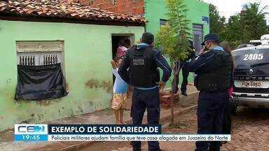 Menino pede ajuda a policiais militares depois de ter a casa alagada em Juazeiro do Norte - Confira mais notícias em g1.globo.com/ce