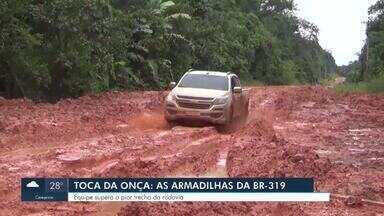 Série Desafios da BR-319: Equipe supera o pior trecho da rodovia - Nossa equipe ficou na estrada de novo e não conseguiu chegar ao vilarejo de Igapó Açu.
