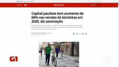 Capital tem aumento de 66% nas vendas de bike - Procura aumentou desde o início da pandemia.