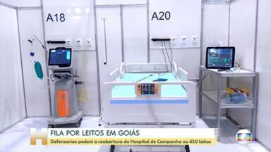 Em Goiás defensorias pedem a reabertura do Hospital de Campanha ou 450 leitos - Hoje, quatrocentas e setenta e oito pessoas estão na fila por um leito em Goiás. Quase trezentas esperam por uma UTI.