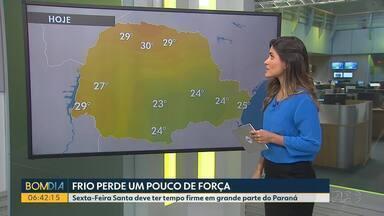 Frio perde um pouco de força no estado na primeira semana de abril - Sexta-Feira Santa deve ter tempo firme em grande parte do Paraná.