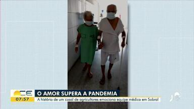Casal de idosos internado por Covid-19 emociona equipe de hospital - Saiba mais em: g1.globo.com/ce