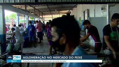 Grande movimentação é registrada no Mercado do Pescado em Porto Velho - Aglomeração é registrada com muitas pessoas sem máscara e desrespeitando o distanciamento.
