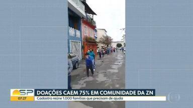 Doações caem 75% em comunidade da Zona Norte de São Paulo - Mais de 1.000 famílias precisam de ajuda.