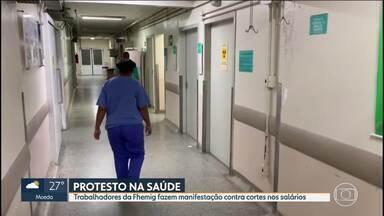 Trabalhadores da Fhemig protestam contra cortes em gratificações durante a pandemia - Funcionários da saúde fizeram hoje uma manifestação em frente ao Hospital João XXIII.