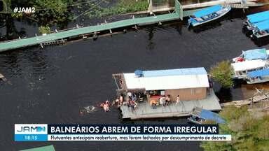 Balneários abrem de forma irregular em Manaus - Flutuantes antecipam reabertura, mas foram fechados por descumprimento de decreto