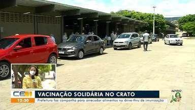 Crato lança campanha para arrecadar alimentos no drive de vacinação contra covid - Saiba mais em g1.com.br/ce