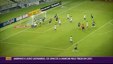 Treze concentra em apenas dois jogadores todos os gols do time nos jogos oficiais de 2021 - Jairinho e João Leonardo foram os únicos atletas do Galo a estufar as redes adversárias nos sete jogos oficias da temporada até o momento.