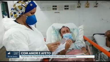 Hospital em Nova Iguaçu leva cartas de parentes para internados por covid - A ideia da direção é levar afeto a quem está tanto tempo longe da família.