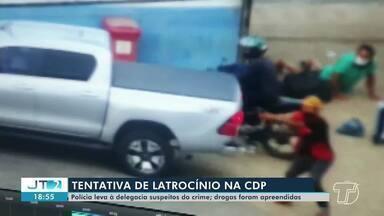 Dupla é conduzida à delegacia suspeita de envolvimento em assalto em Santarém - Um dos suspeitos é conhecido da Polícia por envolvimento em homicídios.