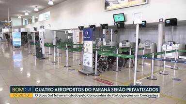 Quatro aeroportos do Paraná são vendidos para a iniciativa privada - Bloco Sul, que corresponde a nove aeroportos localizados nos três estados da região, foi arrematado pela Companhia de Participações em Concessões, subsidiária do grupo CCR, com a proposta de investimento de R$ 2,128 bilhões.