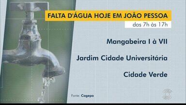 Falta água em nove localidades de João Pessoa, nesta quinta-feira (8) - Confira quais bairros ficam desabastecidos durante o dia