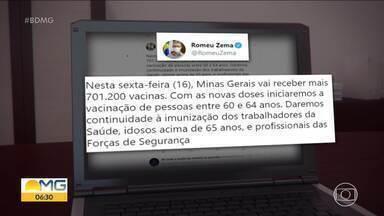 Minas Gerais recebe mais de 700 mil vacinas contra a Covid - Essa é décima terceira remessa que chega ao Estado.