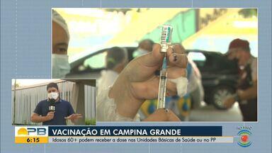 Idosos a partir de 60 anos continuam sendo vacinados contra a Covid-19, em Campina Grande - Vacina está acontecendo nas UBS, Centros de Saúde, Policlínicas Municipais e no Parque do Povo