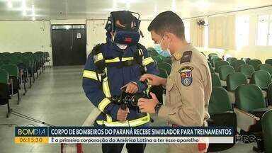 Corpo de Bombeiros do PR recebe equipamento de realidade virtual para simular incêndios - Equipamento, importado da Austrália, custou R$ 700 mil. Corpo de Bombeiros do Paraná é a primeira corporação da América Latina a usar a tecnologia.