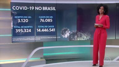 Brasil se aproxima das 400 mil mortes pela Covid - Desde o início da pandemia, o país registrou 395.324 mortes.