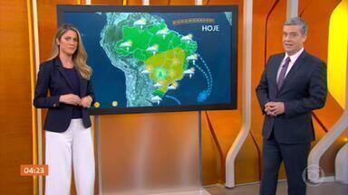 Previsão do tempo: alerta para temporal no Norte - Tempo firma para São Paulo nesta terça (4). Previsão de chuva forte concentrada no Sul e no Norte. No Norte há risco de temporal, atenção para quem está no Pará e Belém. No Amazonas, a chuva deve ser menos volumosa, mas a cheia dos rios é uma preocupação no estado.
