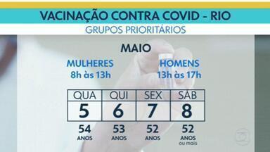 Rio não aplica segunda dose da CoronaVac nesta quarta-feira (5) - O calendário só volta no sábado para quem tem 66 anos. Mas a primeira dose continua para os grupos prioritários e pra quem tem comorbidades. Hoje é dia das pessoas de 54, mulheres de manhã, homens à tarde.