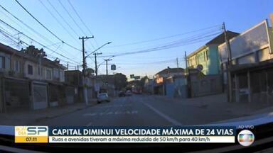 Prefeitura de SP reduz limite de velocidade em 24 ruas e avenidas da cidade - Máxima passou de 50 para 40 km por hora. Medida foi tomada para diminuir mortes em acidentes.