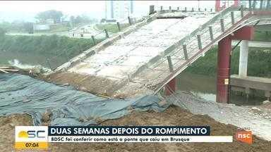 Veja como ficou a ponte de Brusque que caiu após rompimento - Veja como ficou a ponte de Brusque que caiu após rompimento