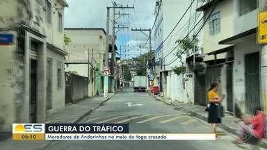 Moradores do bairro Andorinhas, em Vitória, sofrem com tiroteios - Assista a seguir.