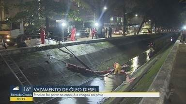 Óleo diesel vaza e vai parar no canal 6, em Santos - Limpeza no canal continua nesta quarta-feira.
