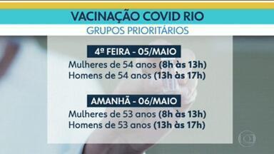 Rio vacina nesta quarta-feira pessoas de 54 anos com comorbidades e grupos prioritários - Mulheres se vacinam até 13h, e, homens, das 13h às 17h.