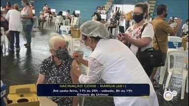 Prefeitura de Marília começa a vacinar os idosos de 60 anos contra o coronavírus - A prefeitura de Marília (SP) começa a vacinar os idosos de 60 anos contra o coronavírus das 17h às 20h no Ginásio de Esportes da Unimar a partir desta quarta-feira (5) até este sábado (8), em que a ação de imunização será feita das 8h às 19h.