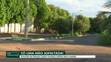 Moradores relatam problemas em avenida do Parque Caçari - Moradores cobram melhorias e asfaltamento de outro sentido de avenida.