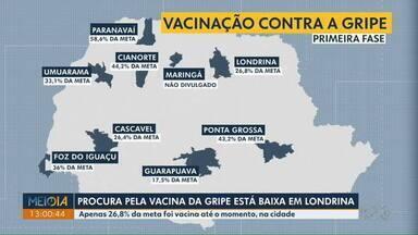Procura pela vacina da gripe está baixa em Londrina - A cidade vacinou, até agora, apenas 26% da meta, que são mais de 66 mil pessoas do grupo alvo.