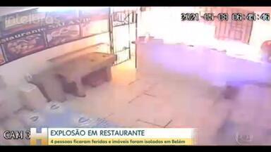 4 pessoas ficam feridas numa explosão em um restaurante em Belém - O botijão de gás explodiu. Entre os feridos está a cozinheira