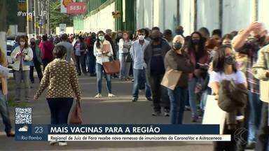 Regional de Juiz de Fora recebe 10 mil novas doses da vacina contra a Covid-19 - As vacinas devem chegar neste segunda-feira (10) e distribuídas pela região. Segundo a Prefeitura, Juiz de Fora é a segunda cidade de Minas Gerais que mais vacinou contra a Cobid-19.