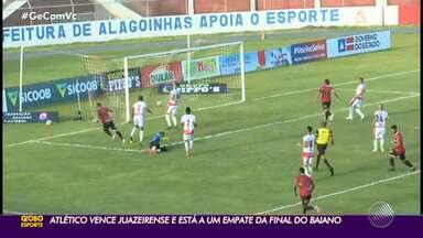 Atlético de Alagoinhas bate a Juazeirense e larga na frente na semifinal do Baiano - Carcará vence por 2 a 1 com gols de Dionísio e Vitinho; Thauan diminuiu para o Cancão de Fogo. Jogo da volta está marcado para quarta-feira, no Adauto Moraes.