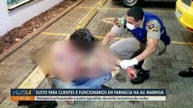 Homem é esfaqueado e outro agredido durante tentativa de roubo, em Londrina - Vítima foi esfaqueada dentro de uma farmácia.