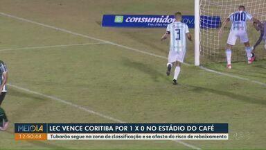 Londrina vence o Coritiba no Estádio do Café - Tubarão segue na zona de classificação e se afasta do risco de rebaixamento.