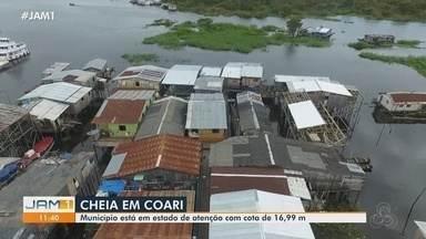 Em Coari, pontes são construídas em ruas inundadas pela cheia - Uma das preocupações dos moradores é com os animais que podem aparecer.