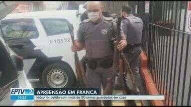Idoso é detido com dezenas de armas em Franca, SP - Material estava guardado em uma casa que funcionava como oficina.