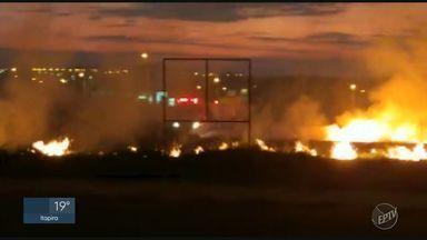 Incêndio atinge terreno baldio e chama atenção de moradores em Santa Bárbara d'Oeste - Segundo o Corpo de Bombeiros, não há risco de chamas atingirem residências próximas ao local.