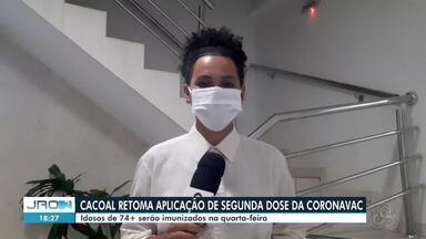 Segunda dose da coronavac tem previsão de retorno de aplicação em Cacoal - Idosos com mais de 74 anos serão imunizados na cidade.
