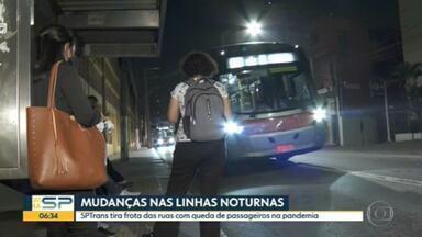 Número de passageiros transportados nas linhas noturnas de ônibus de SP cai 75% durante a pandemia - Por causa dessa redução, SPTrans tirou frota das ruas.
