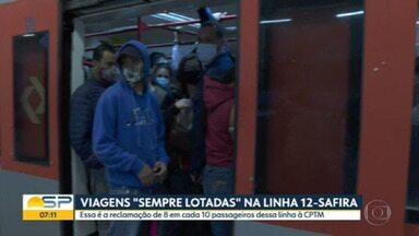 """Viagens """"sempre lotadas"""" na Linha 12 - Safira da CPTM - Essa é a reclamação de 8 em cada 10 passageiros ouvidos pela companhia."""