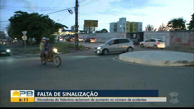 Moradores do bairro Valentina reclamam de falta de sinalização nas ruas, em João Pessoa - Número de acidentes aumentou no local